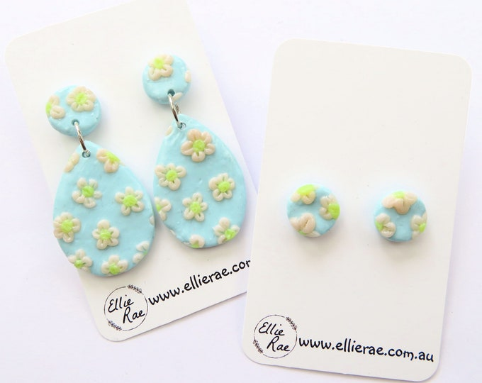 Pastel Blue and Daisy Polymer Clay Stud Dangle Earrings
