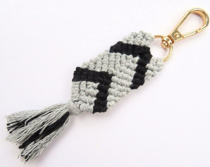 Grey and Black Cotton Macrame Fishtail Mermaid Pattern Key Chain with gold Findings