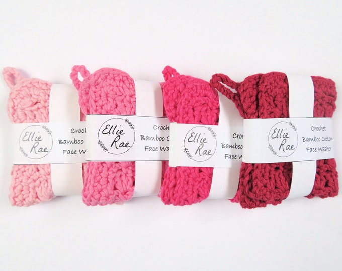 Pink Bamboo Cotton Crochet Wash Cloths