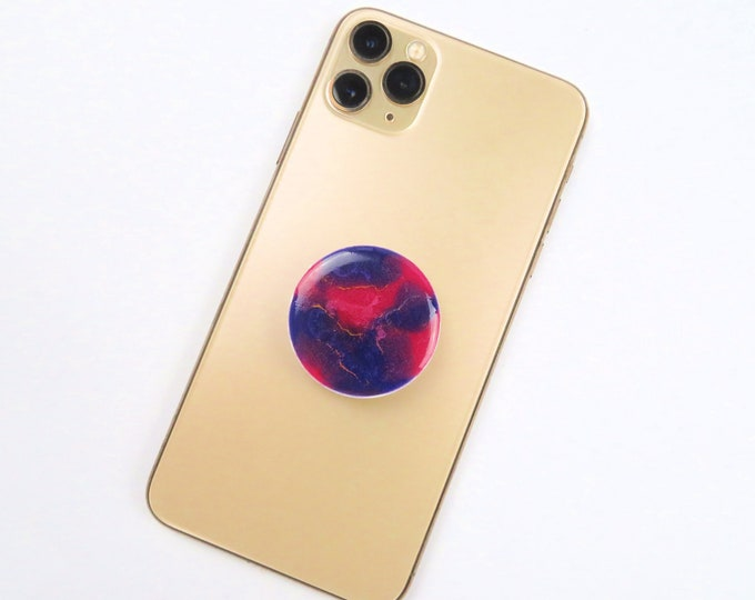 Pink Purple and Gold Ripple Pearl Pigment Resin Pop Socket Phone Grip Stand