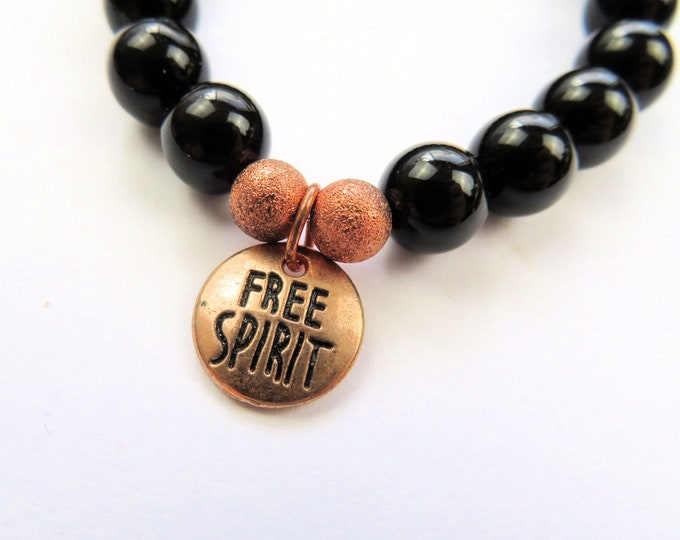 "Genuine Black Obsidian Crystal Gemstone and Rose Gold ""free spirit"" Beaded Bracelet S-M"