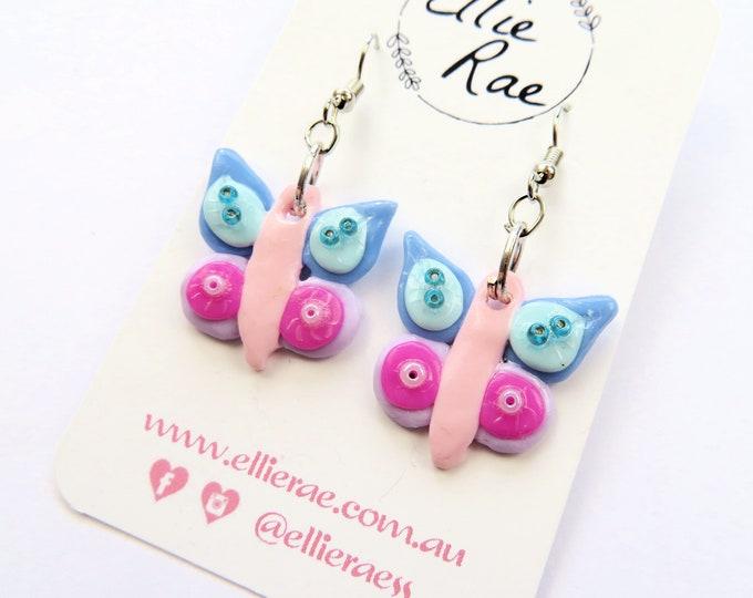 Pastel Butterfly Polymer Clay Dangle Earrings