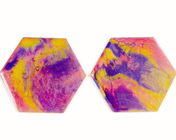 Pretty Pink, Purple and Gold Resin Coasters