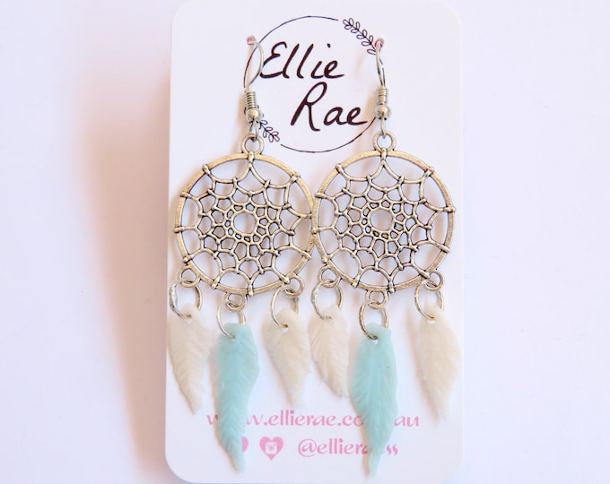 Polymer Clay Feather Dream Catcher Earrings