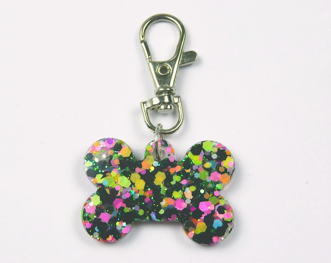 Glitter Resin Dog Bone Keychain