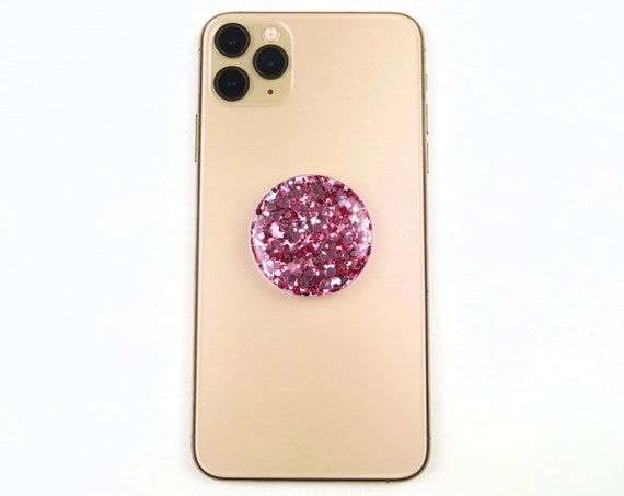Rose Gold Glitter Resin Phone Grips Stand