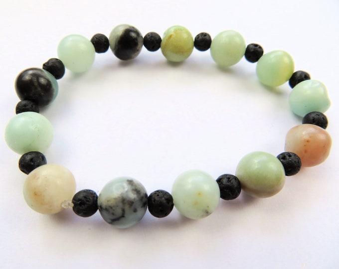 Genuine Amazonite Crystal Gemstone and Lava Bead Bracelet S-M