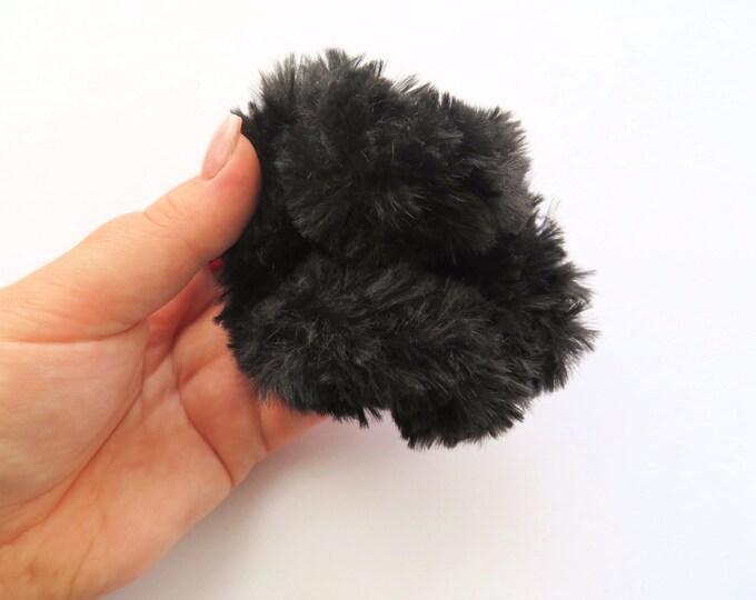 Black Fluffy Crochet Scrunchie