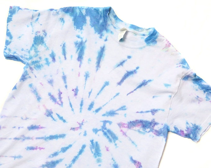 Blue, Purple and Green Tie Dye T Shirt | Top Shirt Spiral Dyed Colourful