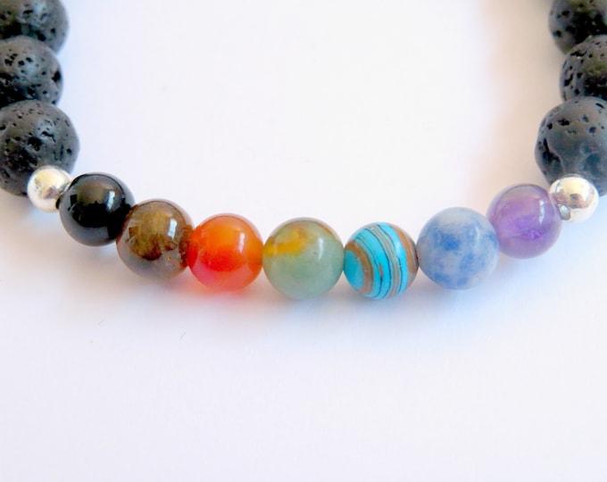 Chakra Gemstone and Lava Bead Bracelet