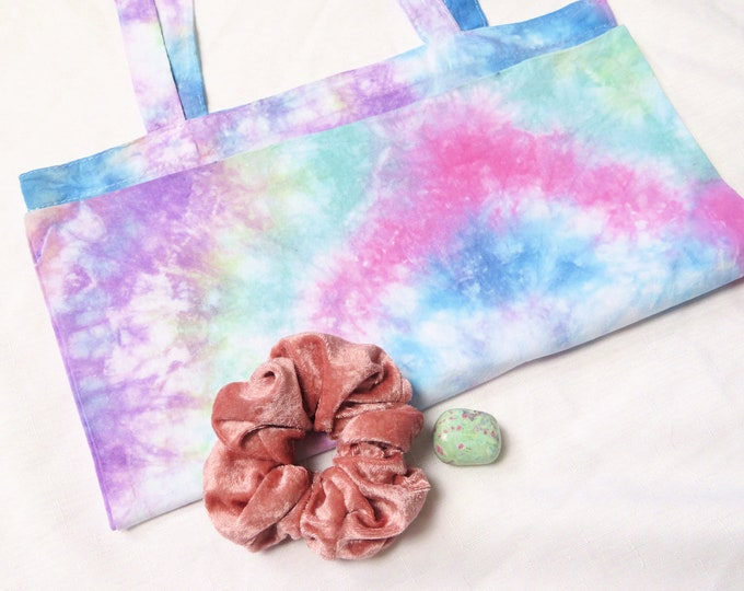 Rainbow Tie Dye Tote Bag | Spiral Blue Purple Green Pink Tie Dyed Shopping Bag