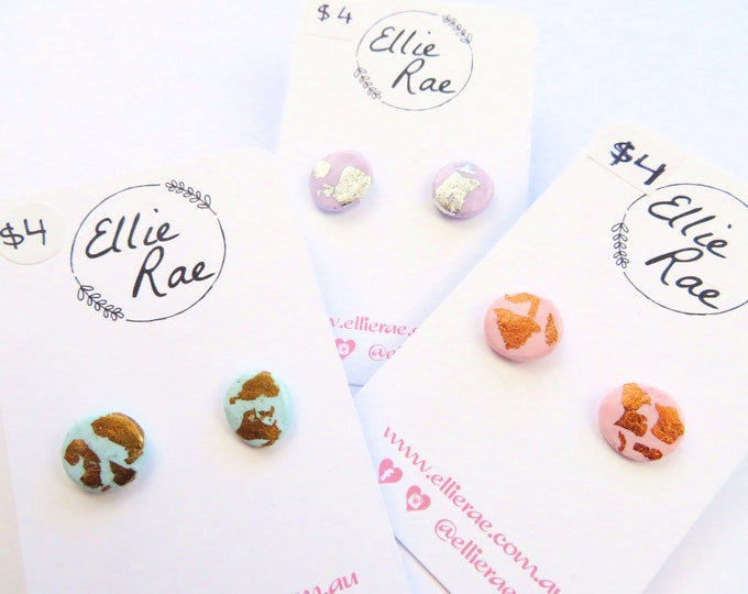 Polymer Clay with Foil Flake Stud Earrings | Pastel pink purple blue silver gold rose gold round studs foiled jewellery
