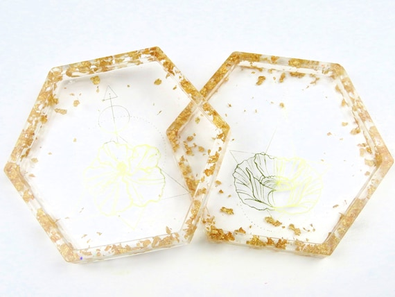 Gold Floral Design with Gold Foil Flake Edge Hexagon Coasters Large