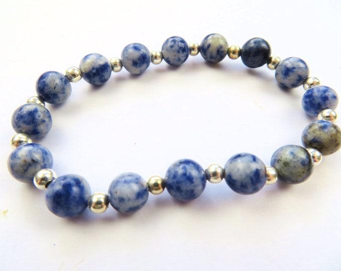 Genuine Sodalite Crystal Gemstone and Silver Beaded Bracelet M-L
