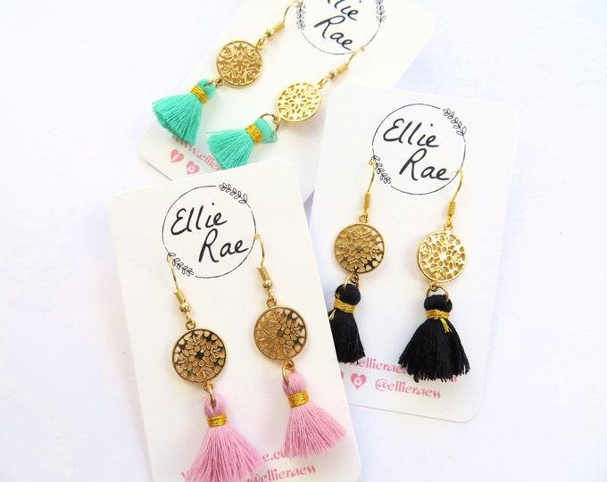 Gold Charm and Tassel Dangle Earrings