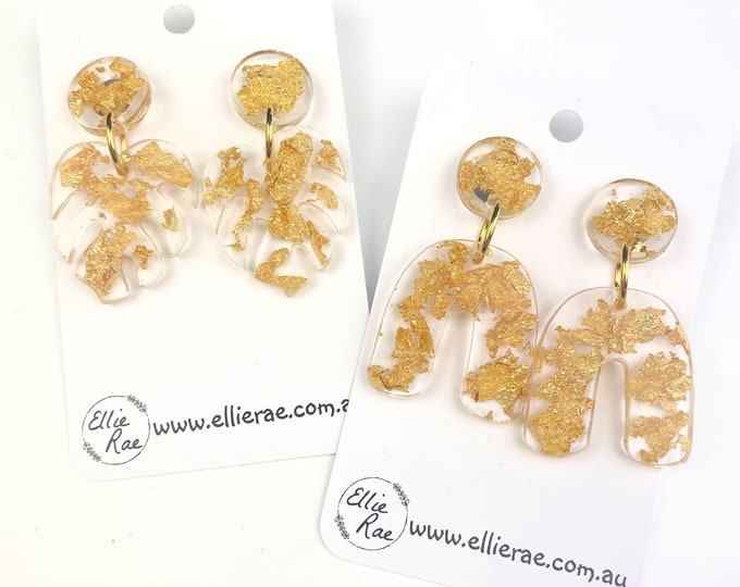 Gold Foil Flake Chunky Glitter Resin Stud Dangle Bold Statement Earrings