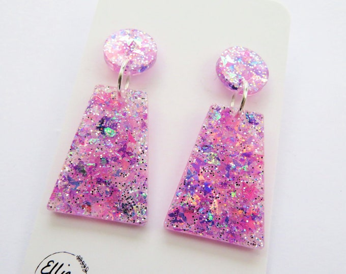 Pink Chunky Butterfly Glitter Resin Dangle Stud Bold Statement Earrings
