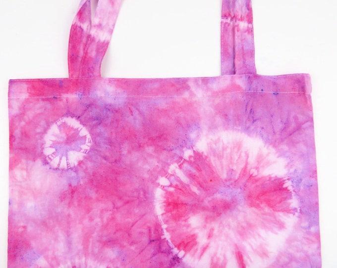 Pink and Purple Circle Tie Dye Tote Bag