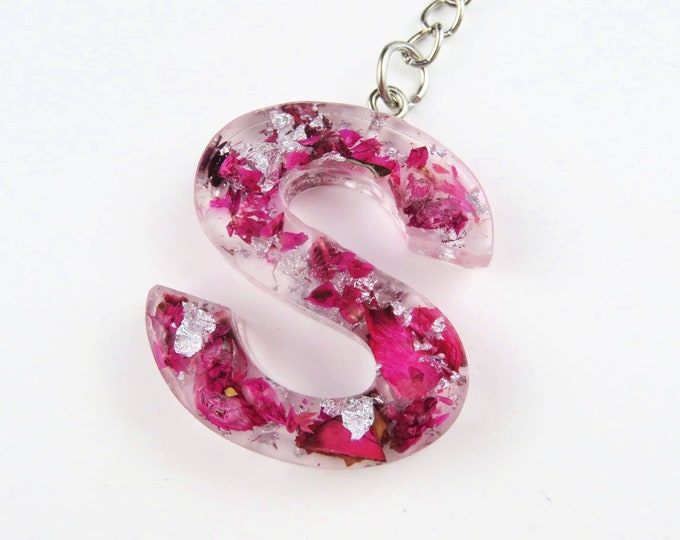 Resin Letter Keychains with Silver Foil and Pink  Dried Flowers