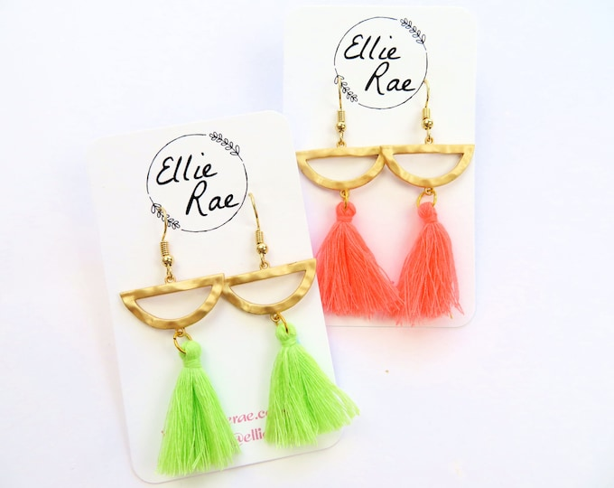 Hammered Gold Semi Circle Charm with Fluro Green and Pink Tassel Dangle Earrings