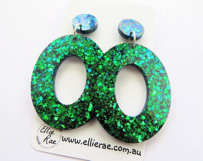 Peacock Blue Green Chunky Glitter Resin Stud Dangle Bold Statement Earrings