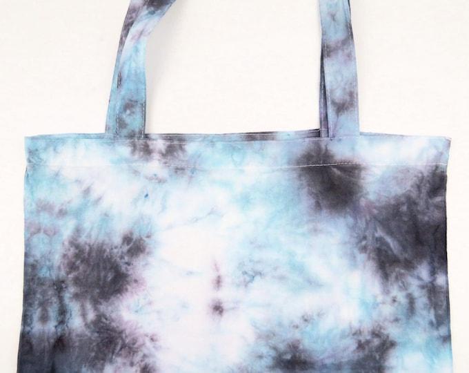 Black and Teal Scrunch Tie Dye Tote Bag
