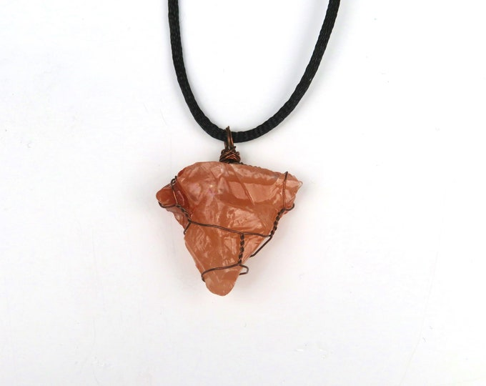 Rose Calcite Wire Wrapped Crystal Gemstone Pendant Necklace