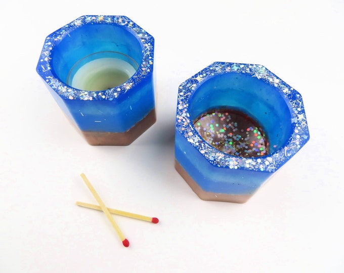Blue Resin Glitter Tea Light Holder