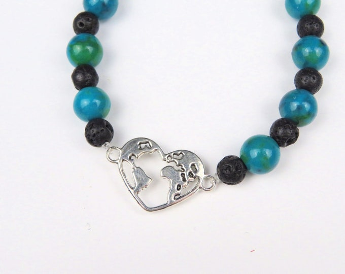 Azurite and Lava Stone Beaded Crystal Gemstone Bracelet with Silver Heart World Charm