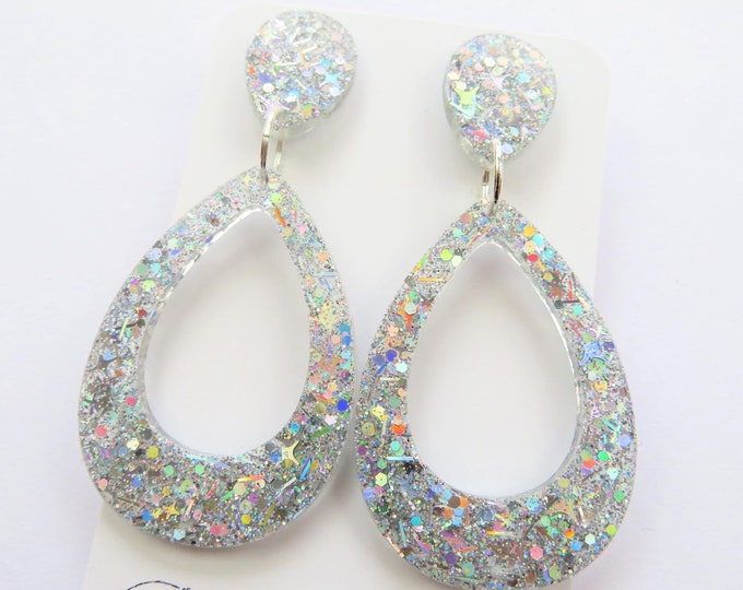 Holographic Silver Teardrop Stud Dangle Resin Glitter Bold Statement Earrings