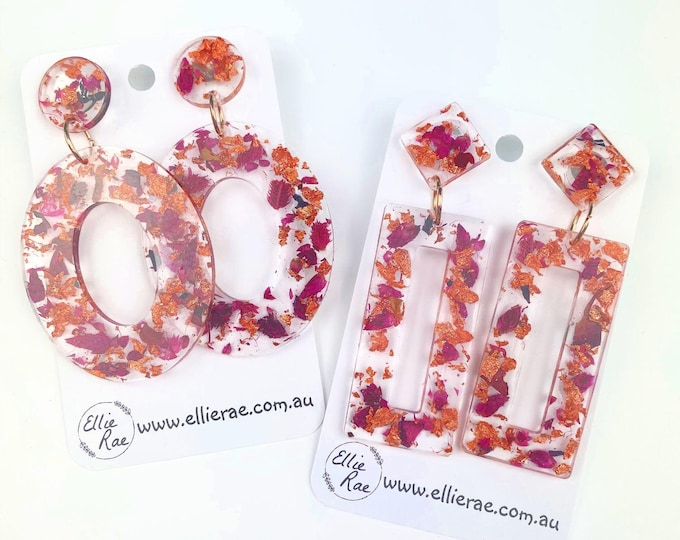Pink Dried Flower and Rose Gold Foil Flake Resin Stud Dangle Bold Statement Earrings