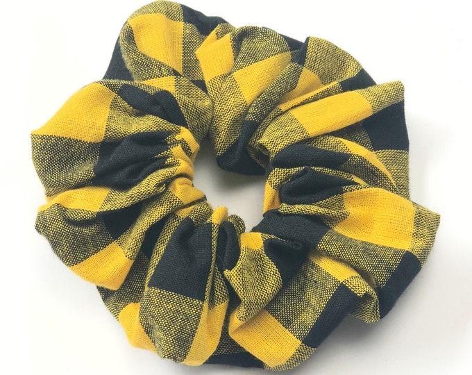 Black and Yellow Gingham Scrunchie - Lrg