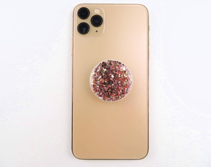 Rose Gold Glitter Resin Pop Sockets