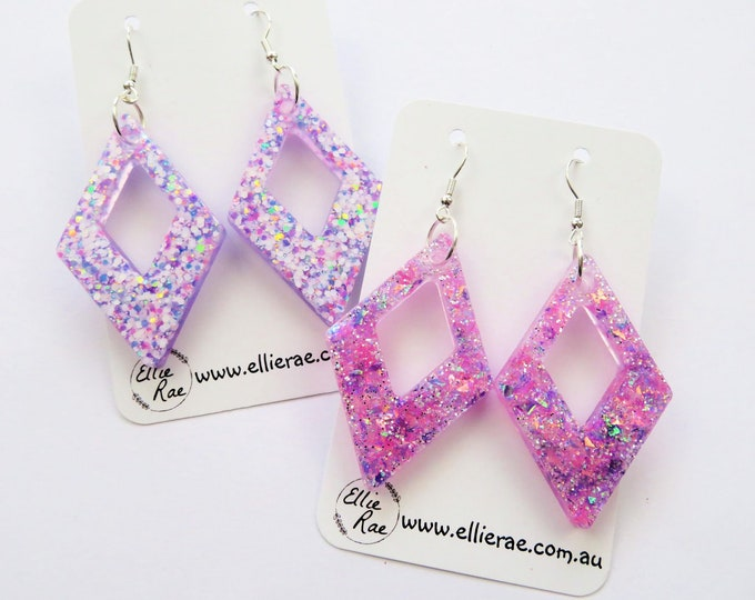 Glitter Resin Chunky Bold Statement Earrings