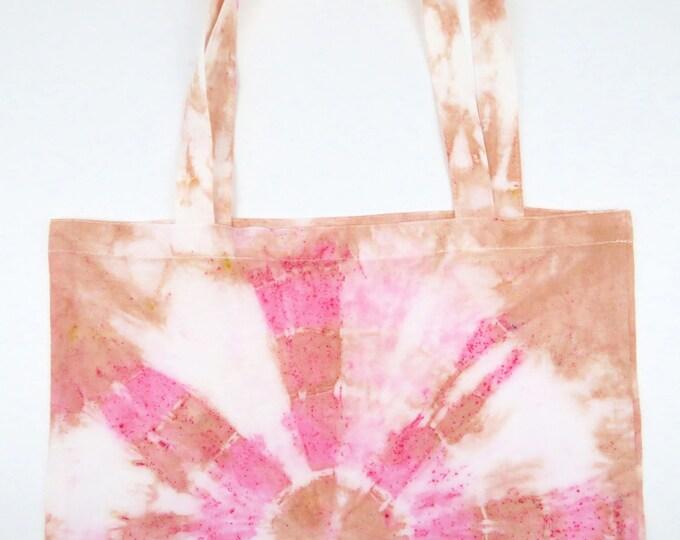 Pink and Tan Circle Tie Dye Tote Bag