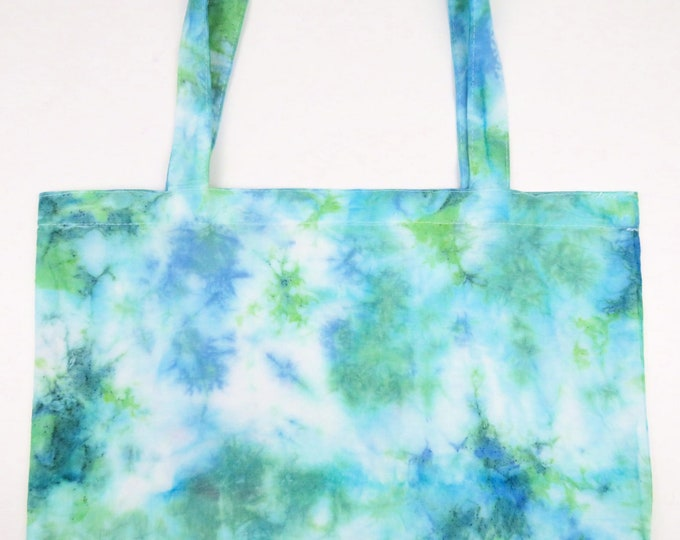 Green and Blue Scrunch Tie Dye Tote Bag