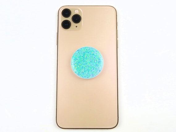 Mint Green Glitter Resin Phone Grips Stand