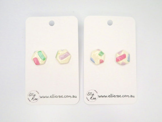 Pastels and White Hexagon Polymer Clay Stud Earrings
