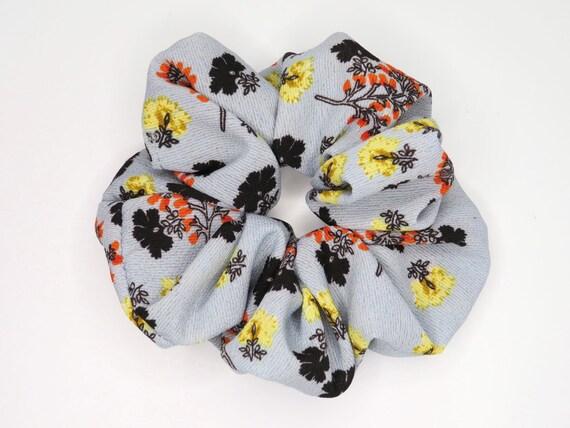 Grey Blue Floral Scrunchie