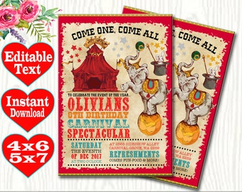 Carnival Theme Party Invitations Etsy