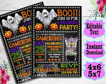 Halloween Invitation Birthday Printable Costume Party Instant Download