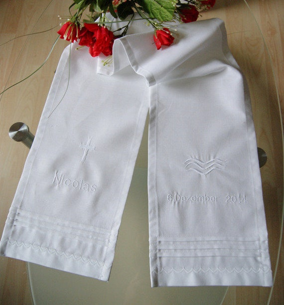 Taufschal avec broderie coton blanc