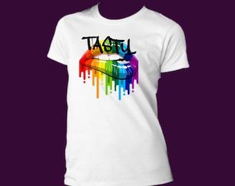 0e875c94582bb Rainbow lips shirt | Etsy