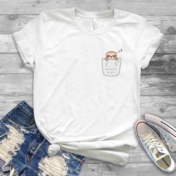 Sloth Fake Pocket New T-Shirt
