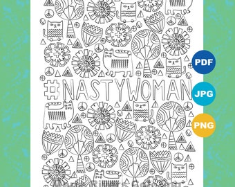 Hashtag NastyWoman Coloring Page Pages For Adults Inspirational Political Art Activism Downloadable