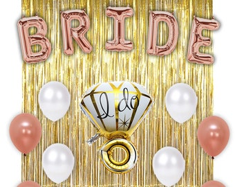 bachelorette party decorations bridal shower kit with gold foil curtain backdrop fringe and rose gold bride mylar balloons