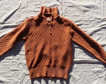 0447aec012 70s Burnt Orange Vintage Sweater Pullover Knit