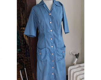 Pockets Cotton Day Dress Dan Rivers Fabrics 40s 50s Med Large Dee Dee by Decatur House Dress Striped