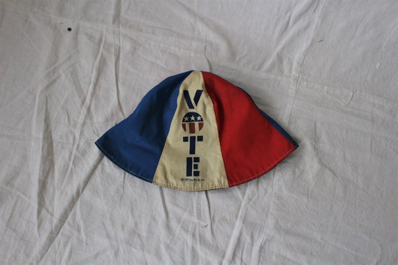 70s VOTE Vintage Reversible Hat Bucket Style Red W