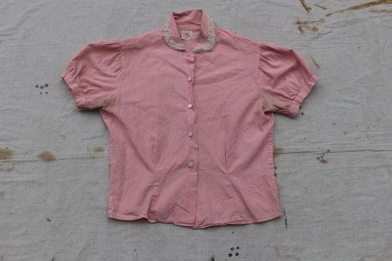 1940s XS S Fruit of the Loom Cotton Gingham Blouse